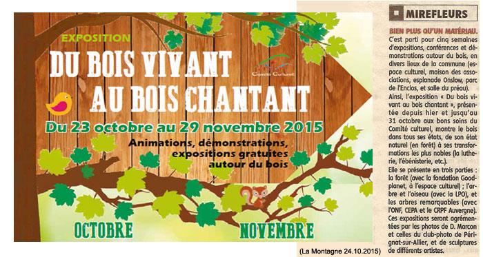 """Annonce et article """"La Montagne"""" du 24 octobre 2015"""