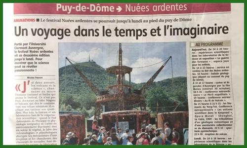 """Article de """"La Montagne"""" sur les """"Nuées Ardentes"""""""