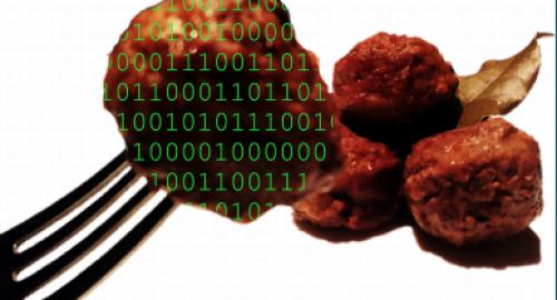 boulettes de viande et matrice en binaire
